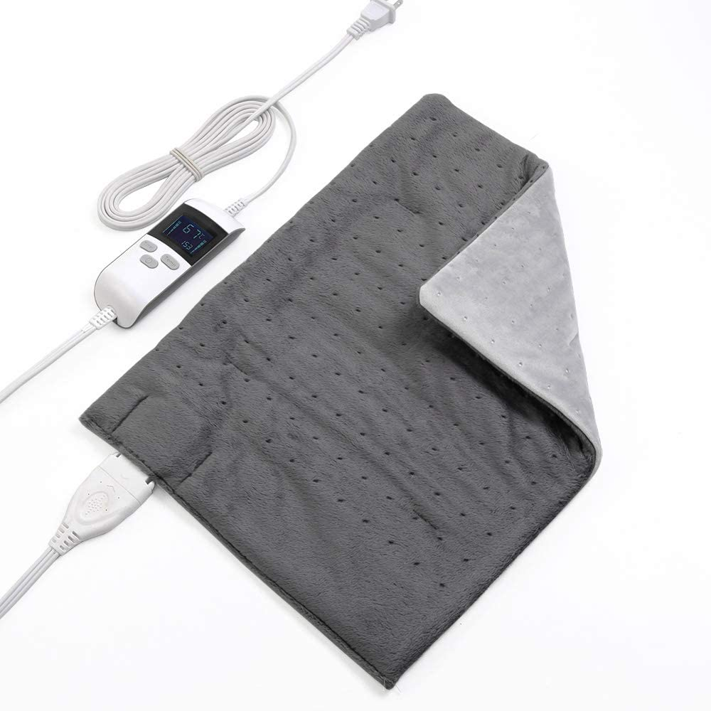 """Boncare 12""""x15"""" Large Heating Pad For Back Pain Fast Relief, Moist Heat Therapy Option, RAPID-heat Technology Digital LCD display 8 Temperature Settings and 6 Auto-off Time Settings, Super Soft Velvet"""