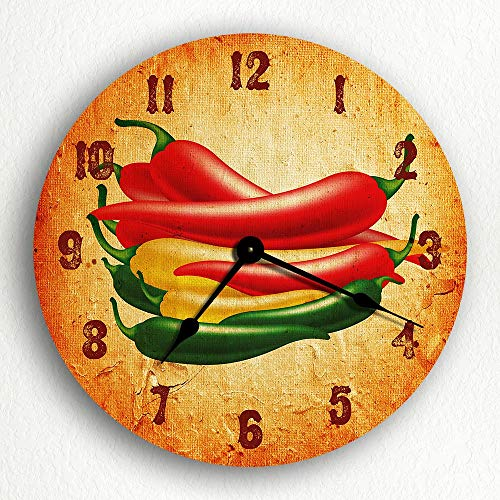 Susie85Electra Southwestern Chili Peppers Motif Wood Wall Clock Modern Decorative Non Ticking for Living Room Kids Bedrooms 12 ()