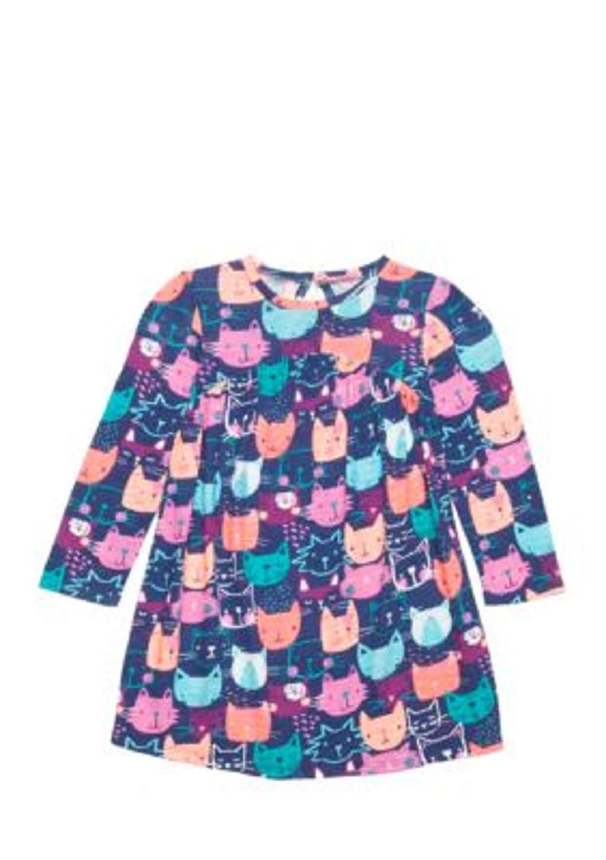 Lightning Bug Baby Girls Long Sleeve Blue Kitty Dress