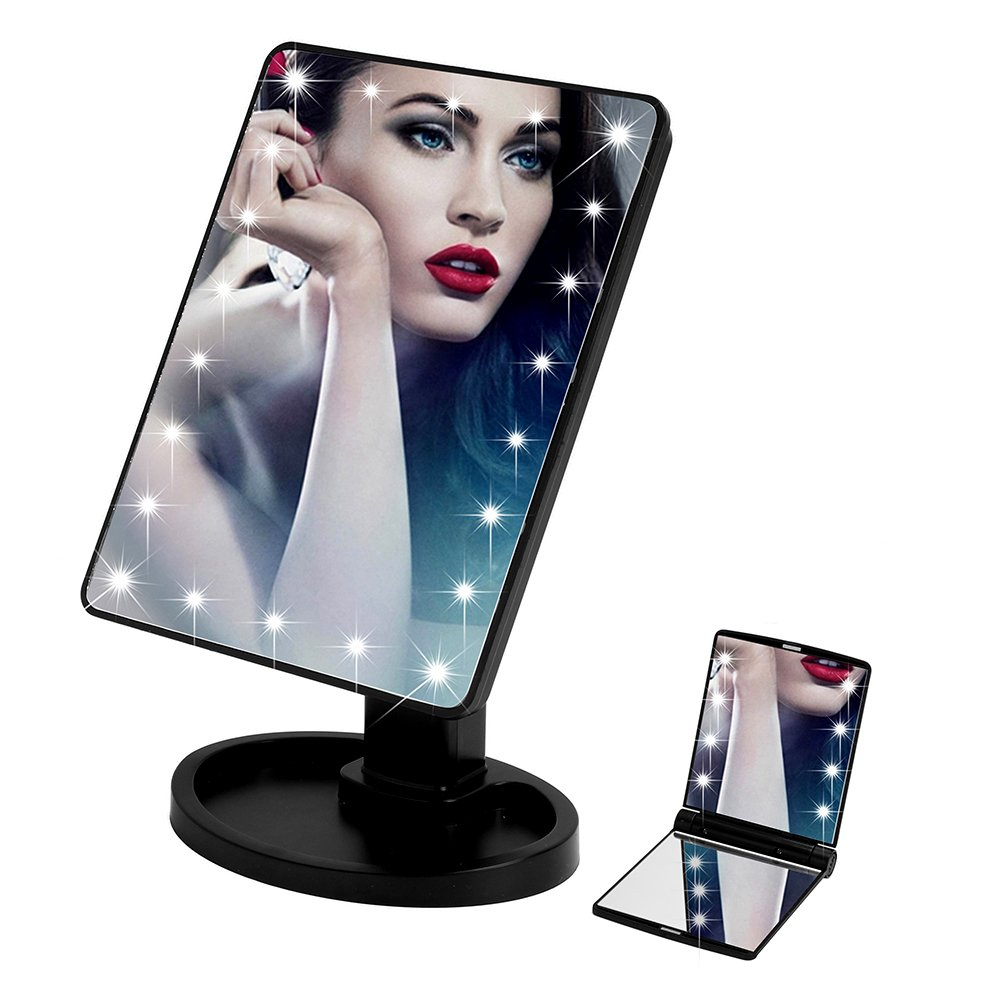 Queentools Touchscreen 22 LED Lighted Makeup Mirror for Women Full 360 Degree Rotating Makeup Mirror Set with Portable Travel Makeup Mirror, Black
