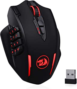 Redragon M913 Impact Elite Wireless Gaming Mouse, 16000 DPI Wired/Wireless RGB Gamer Mouse with 16 Programmable Buttons, 45 Hr Battery and Pro Optical Sensor, 12 Side Buttons MMO Mouse