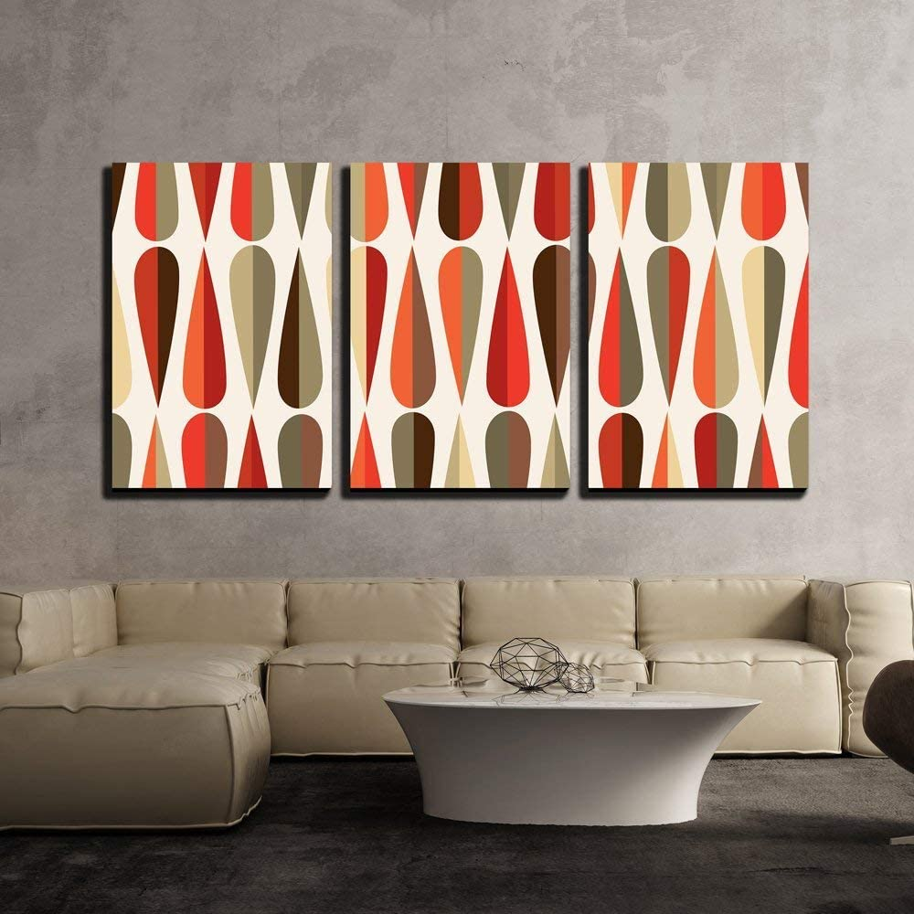 Mid-Century Modern Style Retro Seamless Pattern with Drop Shapes in Tones 24x36x3 Panels CVS-X-C807-24x36x3 wall26-3 Piece Canvas Wall Art Modern Home Decor Stretched and Framed Ready to Hang