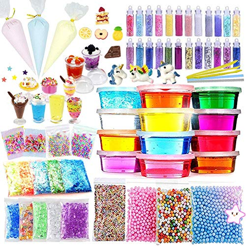 ESSENSON DIY Slime Kit for Girls Boys - Slime Supplies Make Your Own Slime, Includes Crystal Slime, Glitter Sheet Jars, Unicorn Slime Charms, Candy Toy Cups, Foam Balls, Fruit Slices, Fishbowl Beads]()