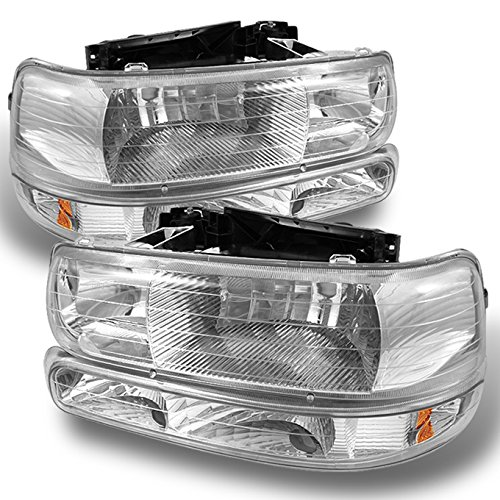 4 Pieces Combo For 1999-2002 Sivlerado 00-06 Suburban Tahoe Headlights Front Lamps + Bumper Signal Lights LH+RH Pair