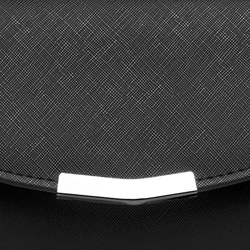 CASPAR TA360 elegante Damen Envelope Clutch Tasche/Abendtasche mit langer Kette Schwarz