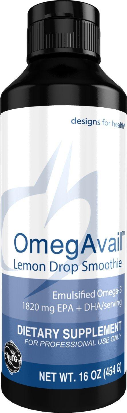Designs for Health OmegAvail Smoothie - Lemon Drop TG Fish Oil Emulsion, Triglyceride Fish Oil (41 Servings, 16 Ounces)