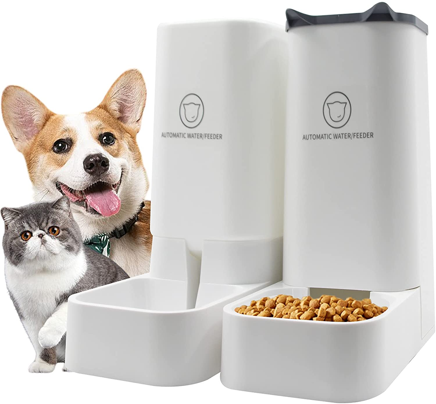 Speusazz Automatic Cat Feeder- Automatic Pet Fooder and Water Dispenser Gravity Feeder- Pet Food Feeder and Water Feeder Set - Dog Automatic Feeders Cat Water Dispenser, for Cats & Small, Medium Dogs