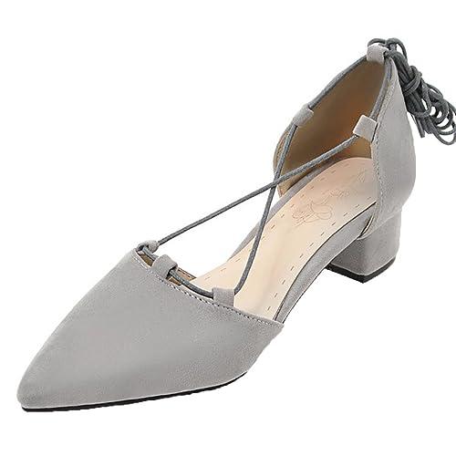 AIYOUMEI Damen Spitze Pumps mit Blockabsatz Sandalen Zum Schnüren  Riemchenpumps Kleiner Absatz Schuhe Grau 32.5 EU b599d37fb3