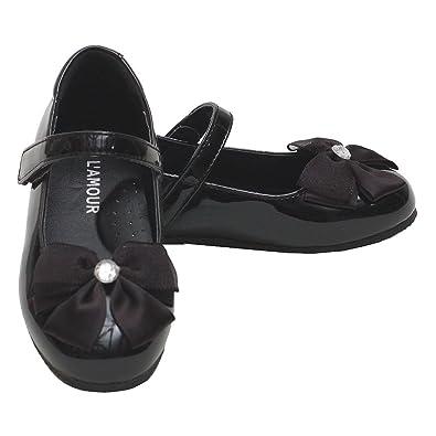 841823b8e39 Amazon.com | L'Amour Toddler Girls Patent Black Slip On Bow Dress ...