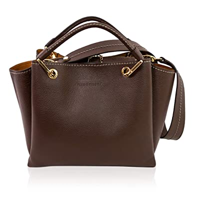 Amazon.com  Plinio Visona Italian Designer Chocolate Maroon Leather Tote  Purse Crossbody Bag w Guitar Strap  Shoes 95e467c0769