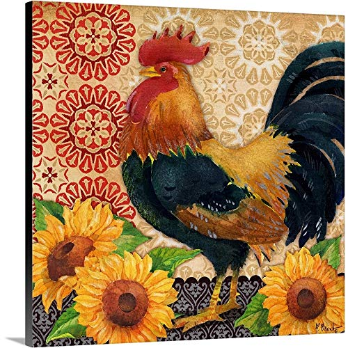Roosters and Sunflowers II Canvas Wall Art Print, 36 x36 x1.25
