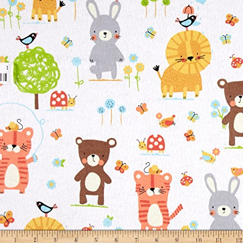 Michael Miller Flannel Fabric - Michael Miller 0439693 Flannel Nature Babies White Fabric by The Yard