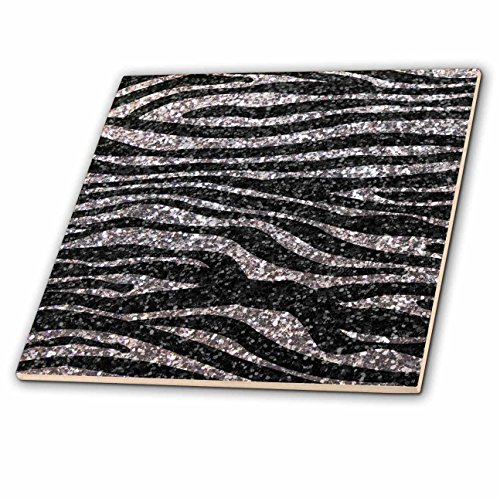 Diva Tile Coaster - 3dRose ct_113176_1 Silver and Black Zebra Print Faux Bling Photo Not Actual Glitter-Fancy Diva Girly Sparkly Sparkles-Ceramic Tile, 4-Inch