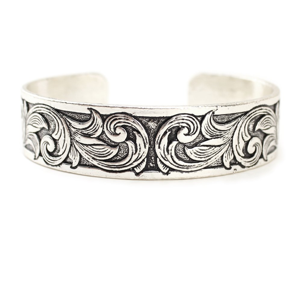 Thin Western Tooled Cuff Bracelet - Copper, Silver or Patina Finish (Silver)