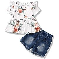 ZOEREA Conjunto de Ropa para Bebé Niña Encantador Manga Corta Floral Tops con Volantes + Shorts de Mezclilla Recién…