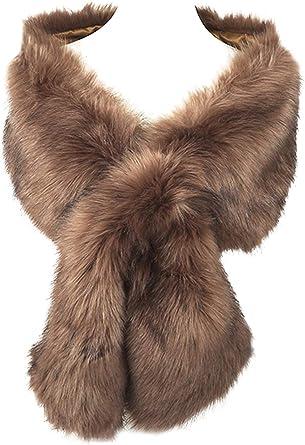 Warm Large 100/% Real Fur Collar Scarf Wrap Shawl Cape UK Winter Xmas Gift Fur