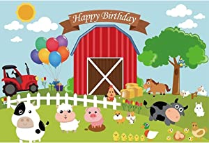 Renaiss 7x5 Vinyl Happy Birthday Theme Photography Backdrop Cartoon Red Farm Cute Cow Sheep Pig Animals Balloons Birthday Party Cake Table Background Kindergarten Classroom Decoration
