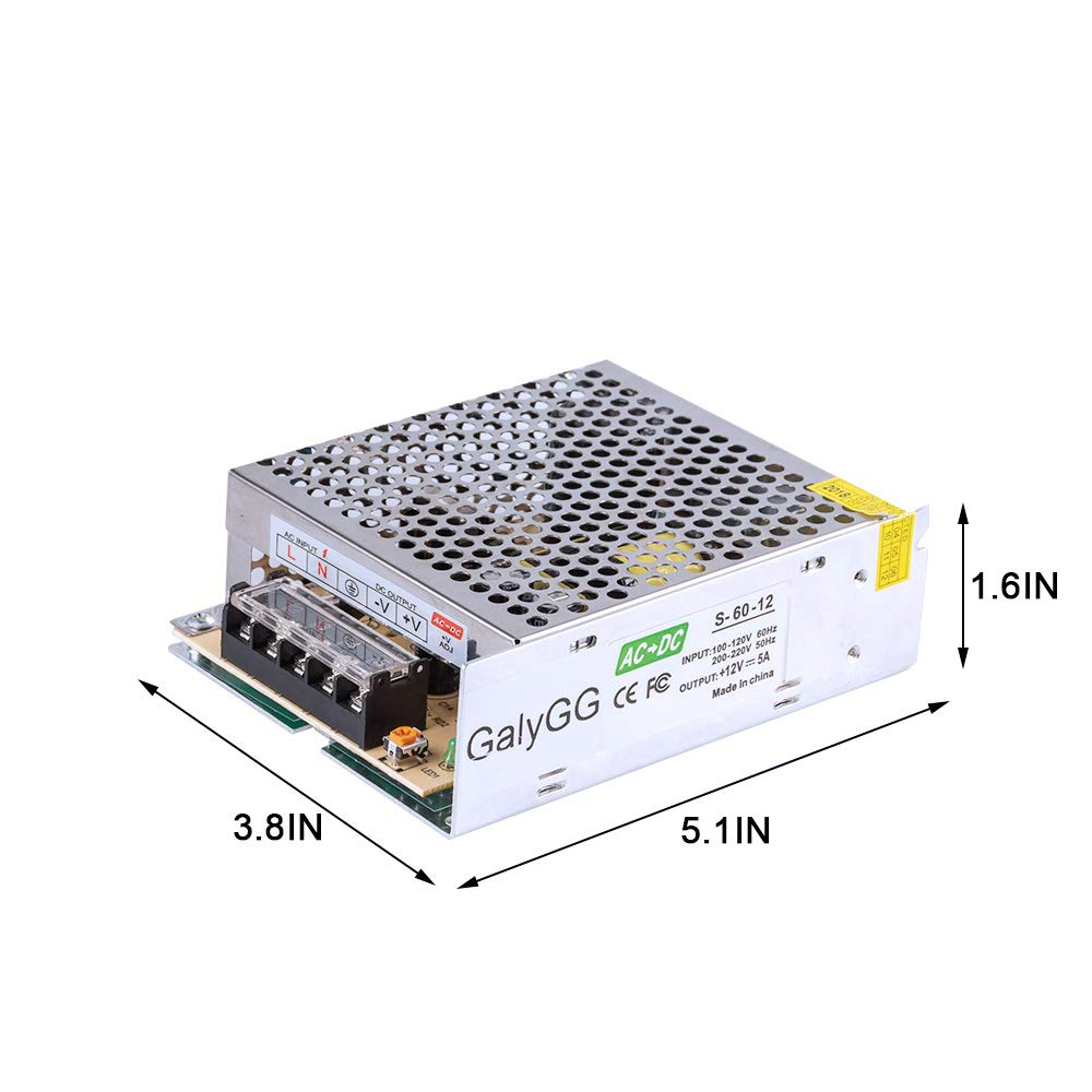GALYGG AC 110V-220V to DC 12V 5A (60W) Universal Regulated Switching Power Supply,Transformer,for 2835 3528 5050 LED Strip Lights,CCTV,Radio,Computer Project,Light Fixtures Lighting