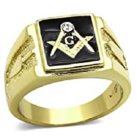 Yourjewellerybox Tk1159Pb Mens Signet Ring Stainless 18Kge Masonic Simulated Diamond Gen Onyx