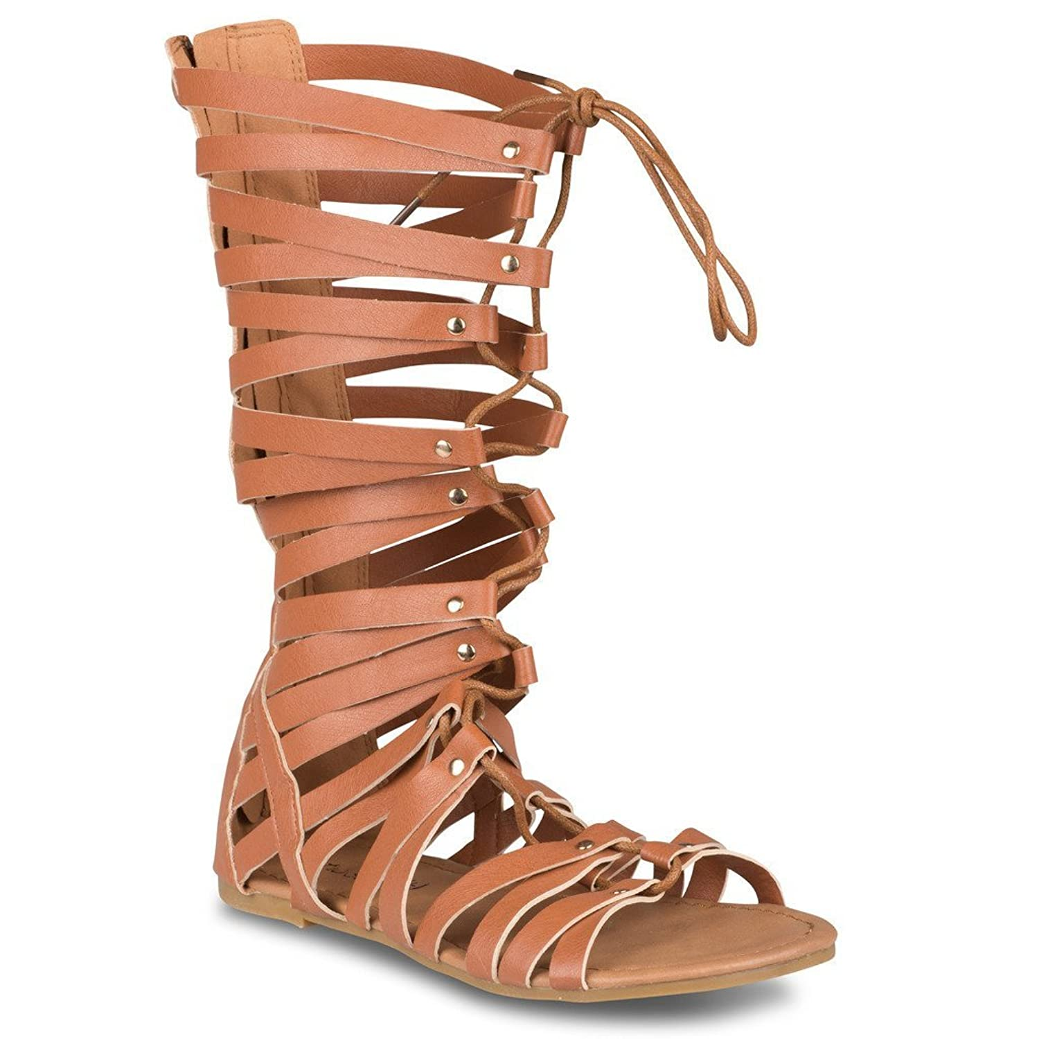 Twisted Women's Plus Daisy Faux Leather Tall Caged Wide Width Wide Calf Sandals