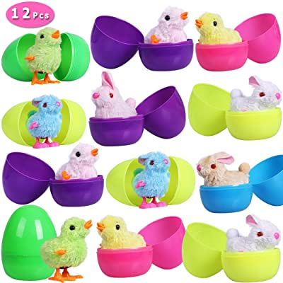 Max Fun Easter Eggs Filled with Wind-Up Toys, 3.7'' Colorful Plastic Surprise Eggs with 12 Easter Wind Up Rabbits and Chicks for Kids Party FavorsEaster Basket Stuffers Fillers: Toys & Games