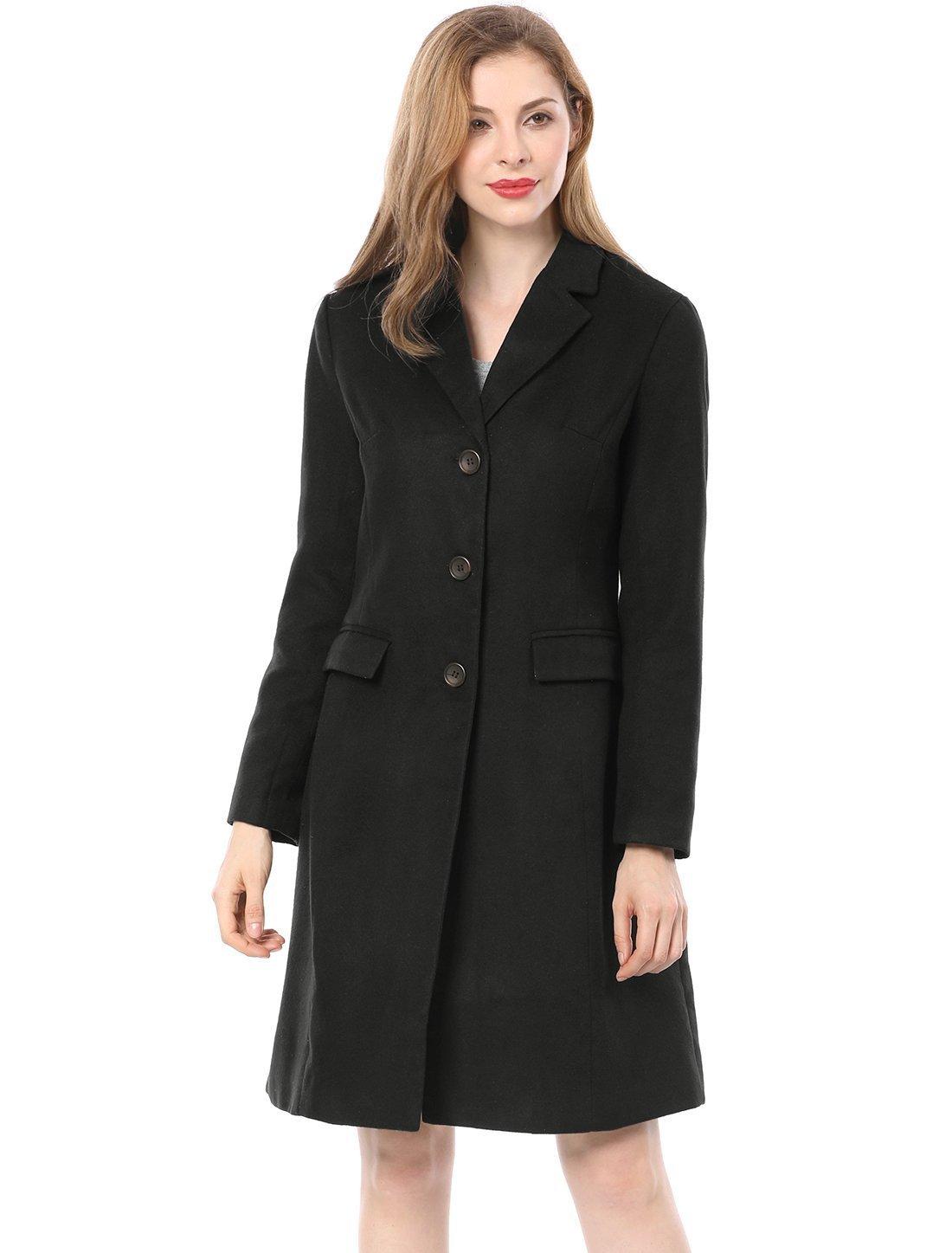 Allegra K Women's Notched Lapel Button Closure Long Coat XL Black