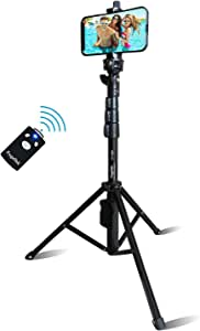 """Selfie Stick & Tripod Fugetek, Integrated, Portable All-in-One Professional, Heavy Duty Aluminum, Bluetooth Remote Compatible with Apple & Android Devices, Non Skid Tripod Feet, Extends to 51"""", Black"""