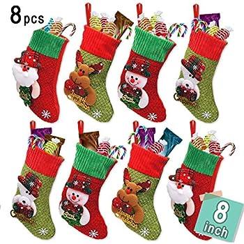 limbridge 8 pack 8 small 3d kids glitter christmas stockings set felt xmas tree santa claussnowmanreindeer gift card silverware holders