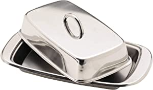 "Kitchen Craft Stainless Steel Butter Dish with Lid, 19.5 x 10 x 8 cm (7.5"" x 4"" x 3"")"
