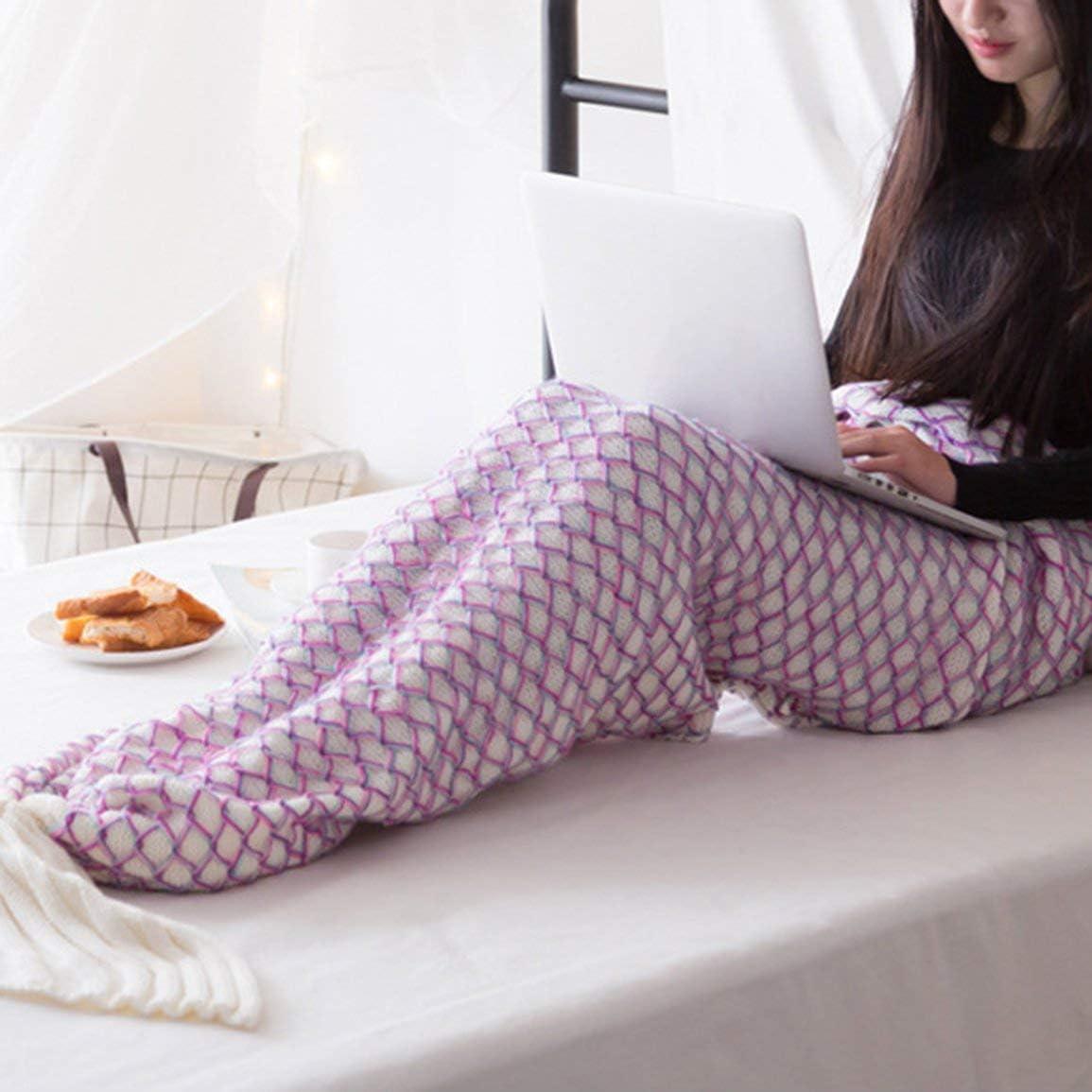 Manta de sirena Manta de dormir hecha a mano Sofá de TV Manta de cola de sirena Niños adultos Bolsa de ganchillo para bebé Ropa de cama Bolsa de tiro