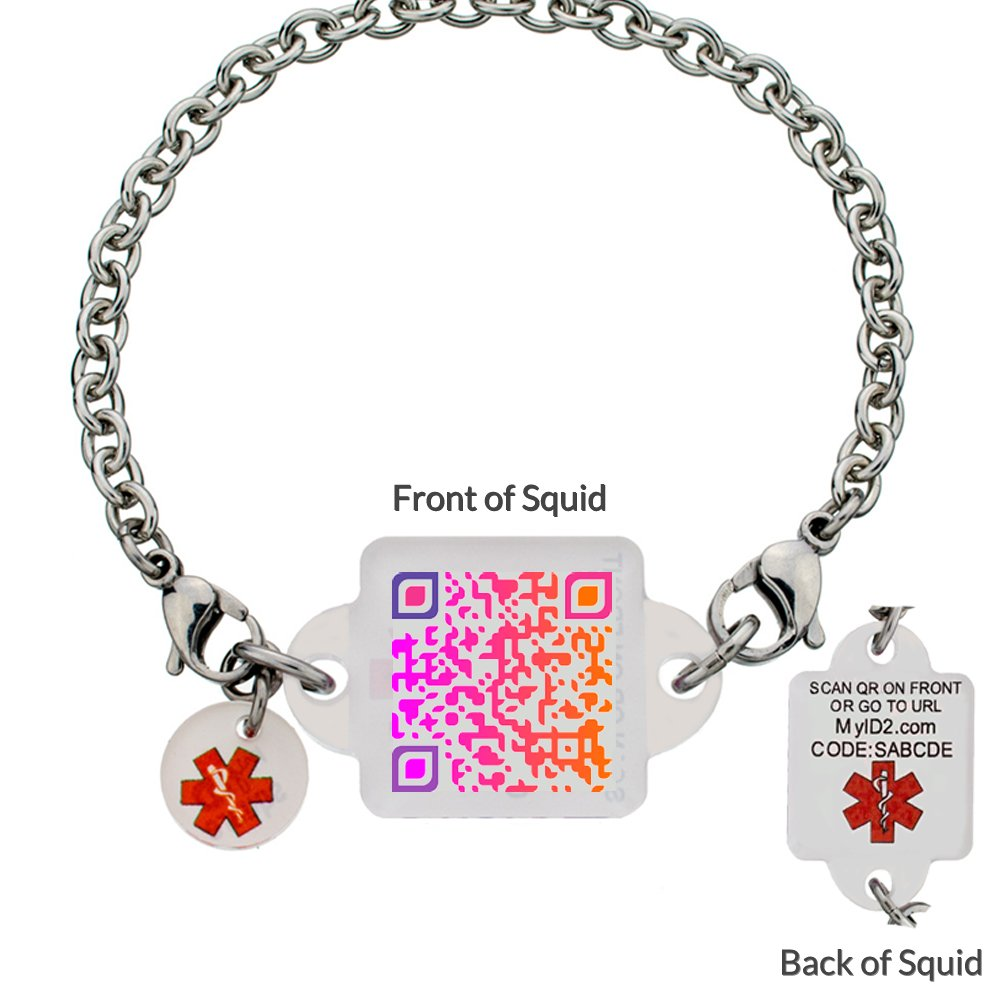 Medical ID Bracelet – Brilliant Sunset Squid Square – XXL