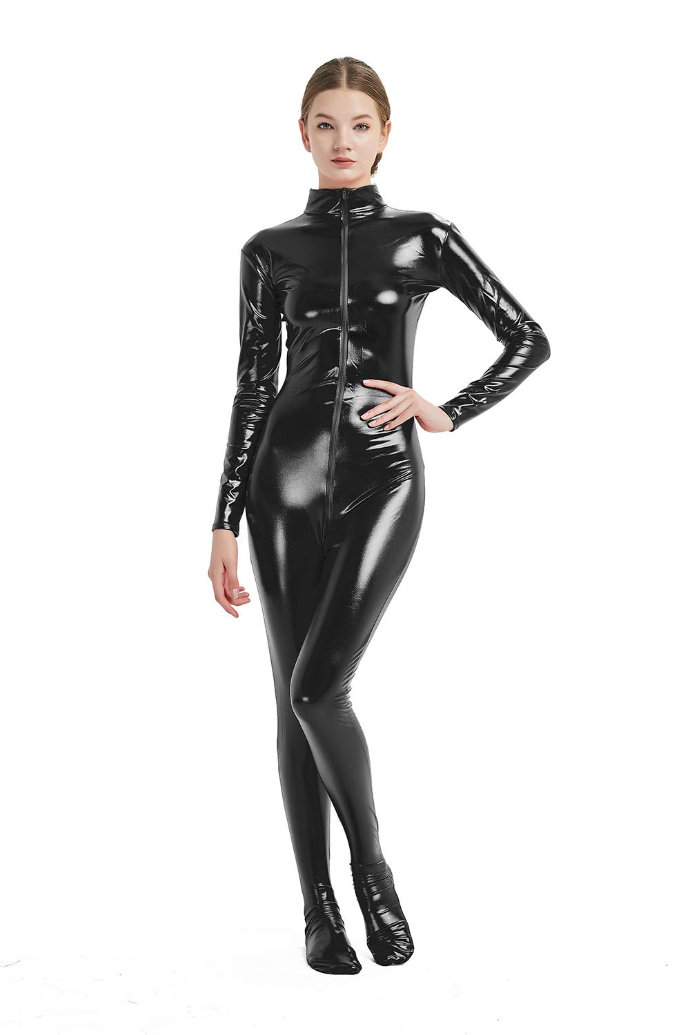Full Bodysuit Womens Shiny Metallic Without Hood and Gloves Front Zipper Lycra Adult Costume Zentai 61o2EvknN4L