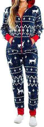 Hanbintod Pijama de una Pieza para Mujer, Pijama Feo de Navidad con Capucha