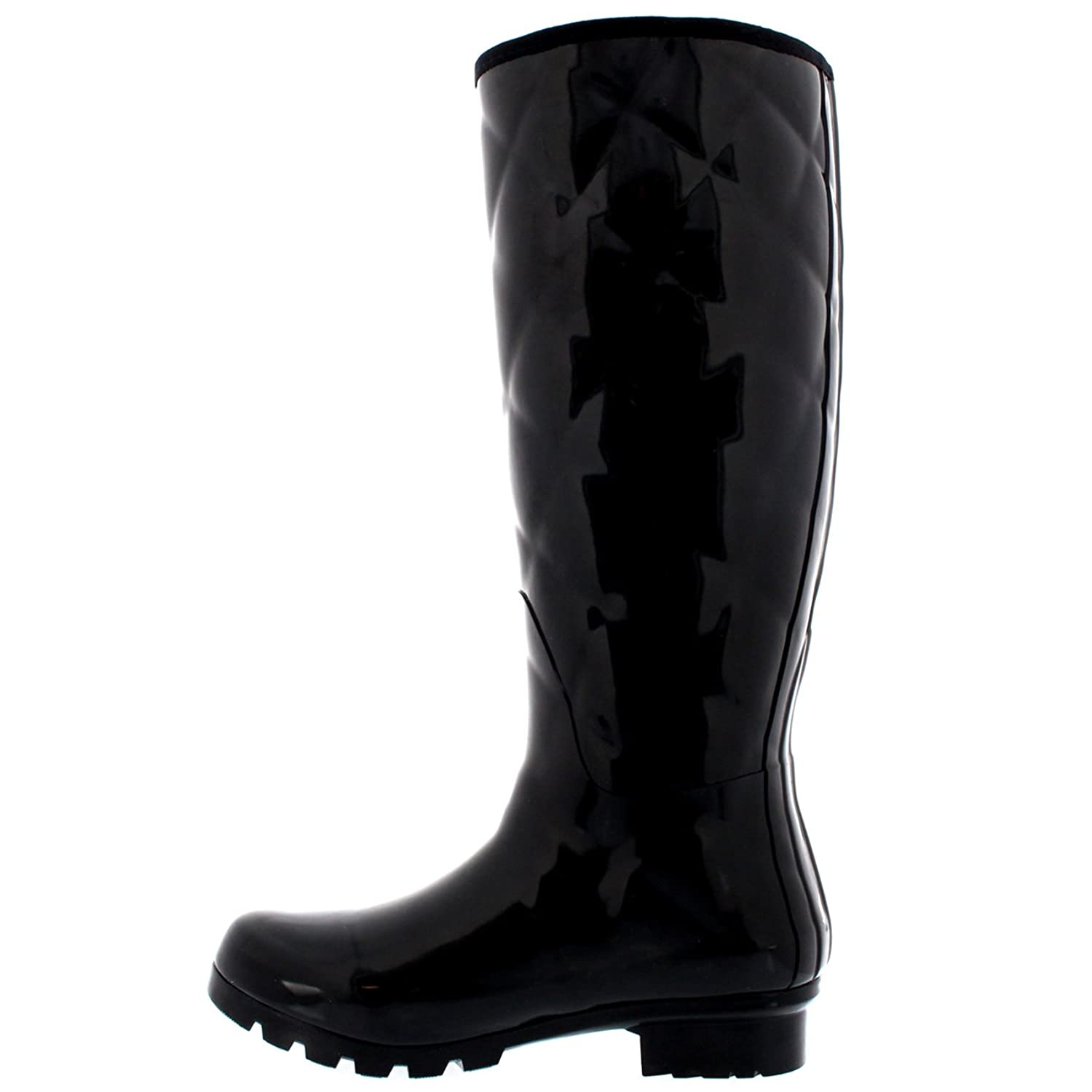 Womens Quilted Tall Gloss Snow Rain Winter Waterproof Wellington Boots