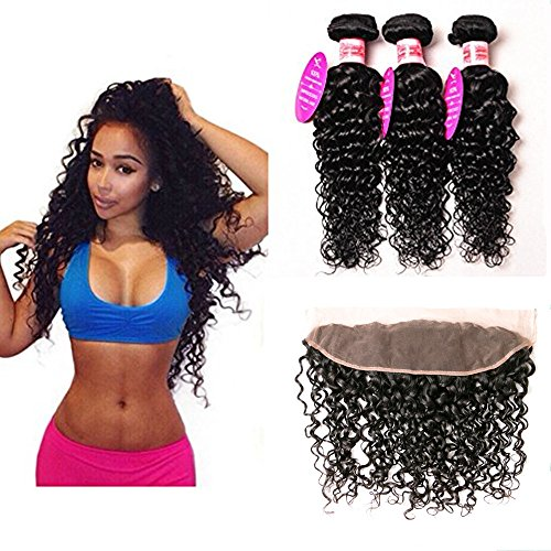 (Brazilian Water Wave Bundles With Frontal Ear To Ear 13x4 Lace Frontal With Bundles Unprocessed Human Hair Bundles With Closure(22 24 26+20lace frontal, Natural Color) )