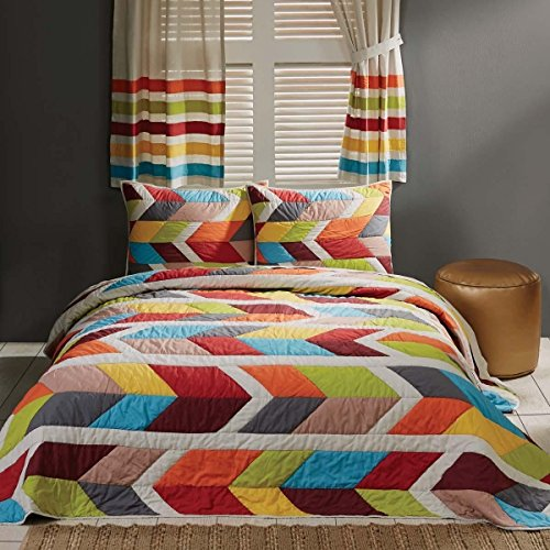 MISC 2pc Girls Rainbow Geometric Stripes Theme Quilt Twin Set, Pin Tuck Puckered Bedding, Colorful Girly Arrow Horozontal Striped Pattern, Vibrant Colors Red Blue Green Orange Grey