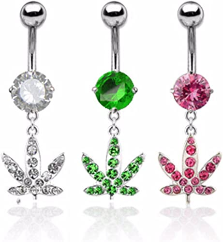 Freedom Fashion Star Sparkle Gem Curve Dangle 316L Surgical Steel Belly Button Ring Sold Individually