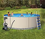 Blue Wave Rugged Steel 12-Feet Round 48-Inch Deep Metal Wall Swimming Pool Package