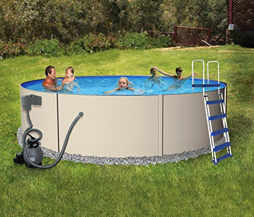 Rugged Steel 24-ft Round 52-in Deep Metal Wall Swimming Pool Package ()