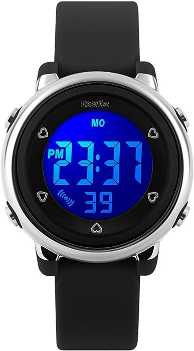 Beswlz - reloj Digital deportivo de pulsera, LED, con Alarma y Cronómetro
