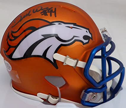 7fe47ff5804 DeMarcus Ware Autographed Orange Blaze Denver Broncos Speed Mini Helmet  Beckett BAS