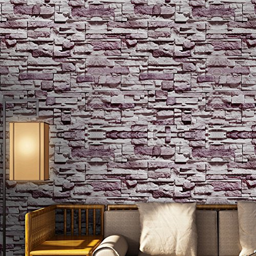 3D Self-Adhesive Brick Wallpaper, Wall Peel and Stick, DIY Self-Adhesive Wall Stickers for Living Room 320 X 40CM (Purple Stone Wall)