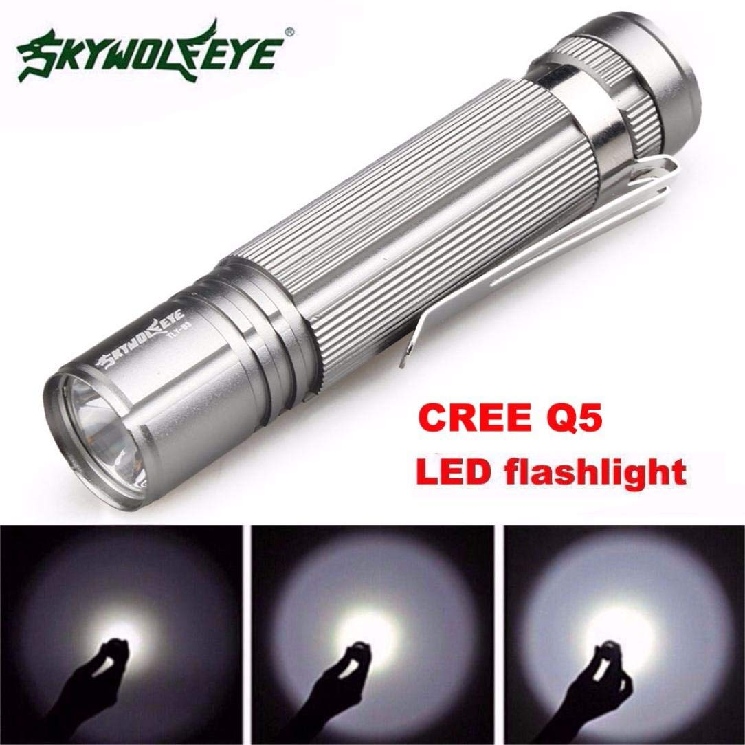 Glumes Flashlight, Super Bright - 1200lm Mini Flashlight Torch Light, Water Resistant, Handheld Light 7W LED - Perfect Cycling, Hiking, Camping, Outdoor,Emergency (Silver)