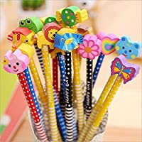 Parteet Birthday Party Return Gifts - Pack of 12 Extra Dark High Quality Pencils with Eraser for Kids - Assorted Designs