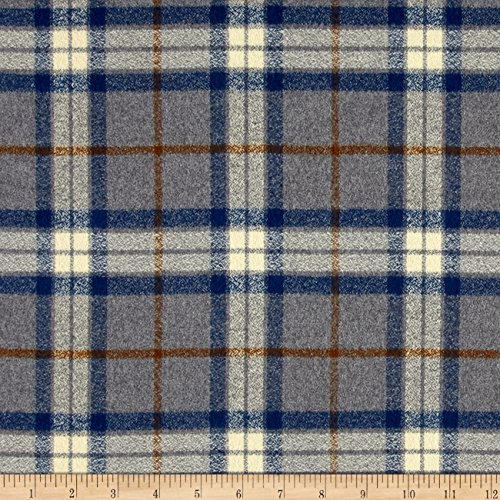 Robert Kaufman 0440775 Mammoth Flannel Large Plaid Fabric by The Yard, Steel ()