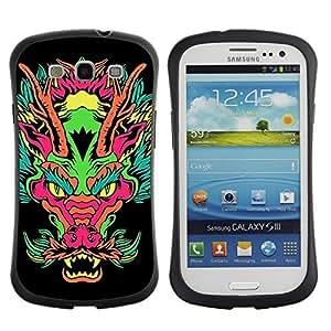 Hybrid Anti-Shock Bumper Case for Samsung Galaxy S3 / Japanese Dragon Neon Monster