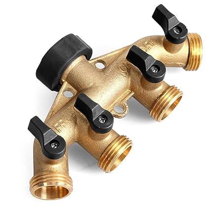 Superieur Glorden Heavy Duty Brass 4 Way Hose Manifold Garden Hose Splitter Connector  With Comfort Grip