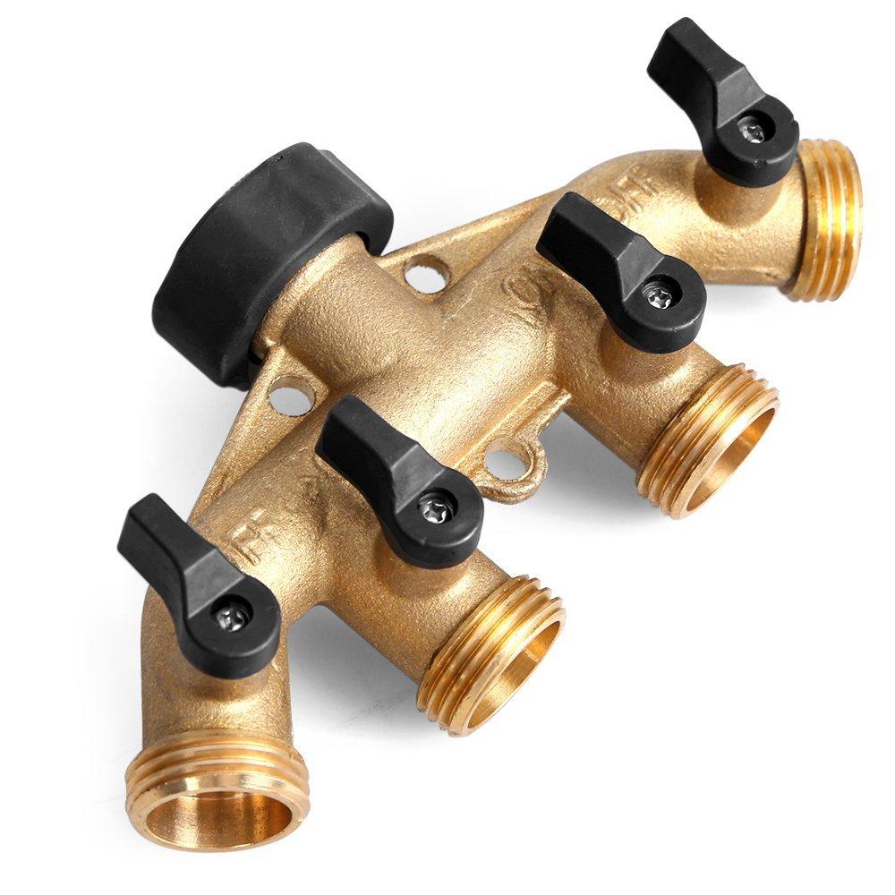 Glorden Heavy Duty Brass 4 Way Hose Manifold Garden Hose Splitter Connector with Comfort Grip