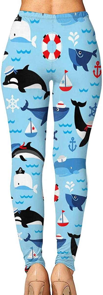 Ennieee Womens Yoga Pants Orca Whales Elastic Workout Running Leggings Pants