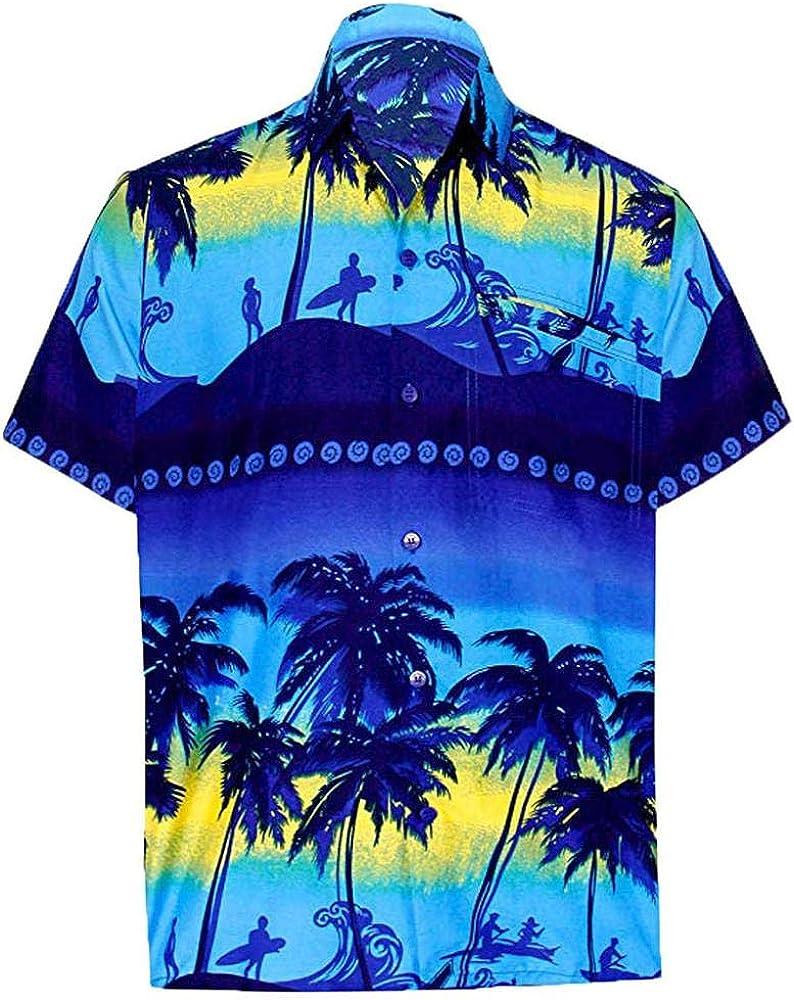 VJGOAL Camisa Hawaiana para Hombres Playa de Verano Impreso ...